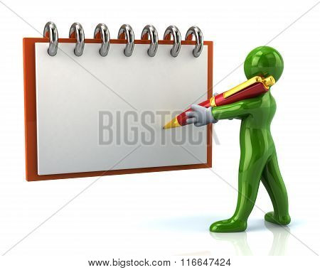 Green Cartoon Man Writing With In Notebook