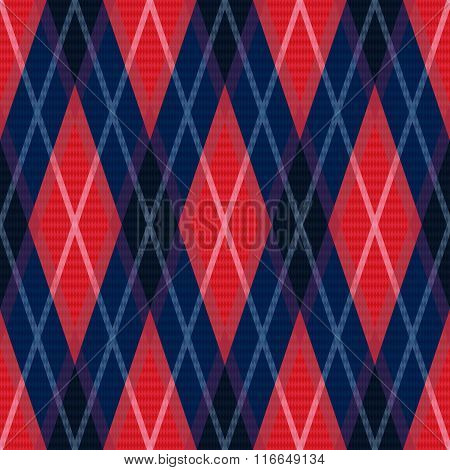 Rhombic Seamless Pattern In Blue And Red Colors