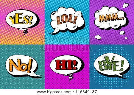 Vector set of comic speech bubbles in pop art style. Design elements, text clouds, message templates