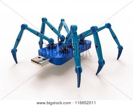 Blue Robot Usb Flash Spider