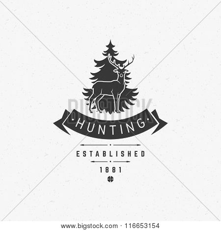 Hunting Club Logo Template. Deer Head and Horns Silhouette Isolated On White Background. Vector object for Labels, Badges, Logos and other Design. Deer Logo, Hunter Logo, Deer Hunting, Retro logo.