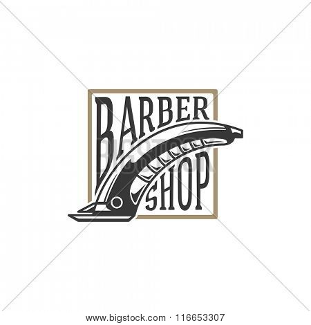 Barber Shop Logo Vector Template. For Label, Badge, Sign or Advertising. Barber shop Logo, Electric Razor Logo, Razor Logo, Shaver Logo. Razor Silhouette,