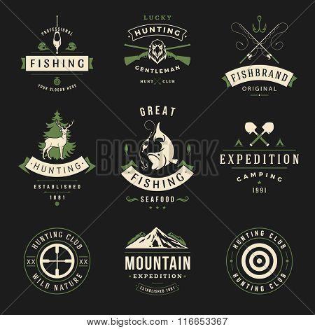 Set of Hunting and Fishing Labels, Badges, Logos Vector Design Elements Vintage Style. Deer Head, Hunter Weapons. Advertising Hunter Equipment. Fishing Logo, Deer Logo, Rifle Logo, Mountain Logo.