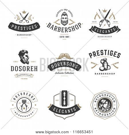 Barber Shop Logos Vector Templates Set. Labels, Badges and Design Elements. Barber shop Logo, Beauty Salon Logo, Hairdresser Logo. Barber Pole Silhouette, Scissors Silhouette, Razor Silhouette.