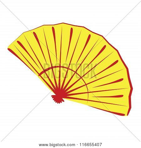 Chinese folding fan isolated on white
