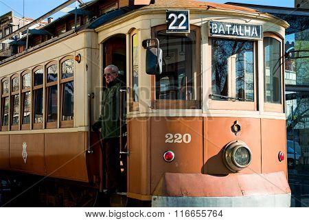 Historical Street Tram In Porto, Portugal