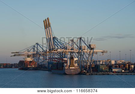 Cargo port in Birzebugga, Malta, panoramic view of cargo port early morning on May 2, 2015