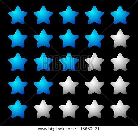 Set Of 5 Star Rating Elements Starting From 1 Star