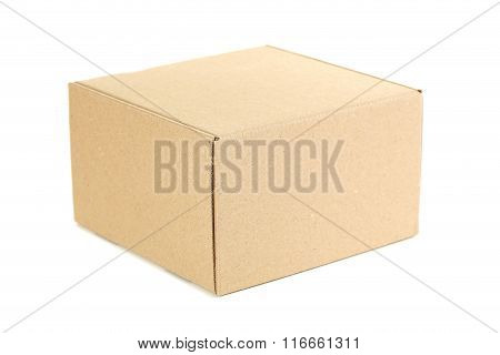 Empty Cardboard Box Isolated On A White
