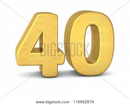 3D Number 40 Gold
