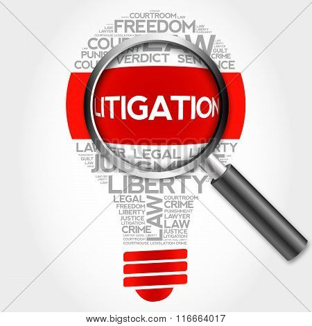 Litigation Bulb Word Cloud