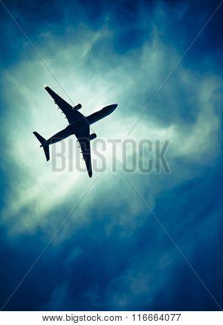 Airplane In Down Emotional Sky