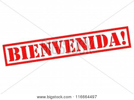 BIENVENIDA! red Rubber Stamp over a white background.
