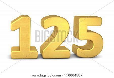 3D Number 125 Gold