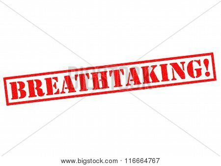BREATHTAKING! red Rubber Stamp over a white background.