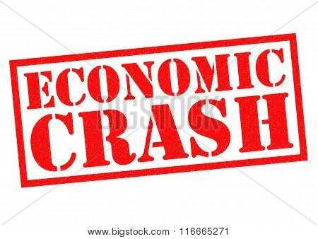 ECONOMIC CRASH red Rubber stamp over a white background. poster