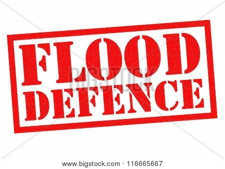 FLOOD DEFENCE red Rubber Stamp over a white background.