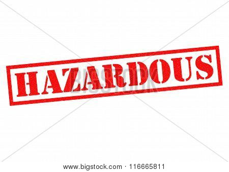 HAZARDOUS red Rubber Stamp over a white background.