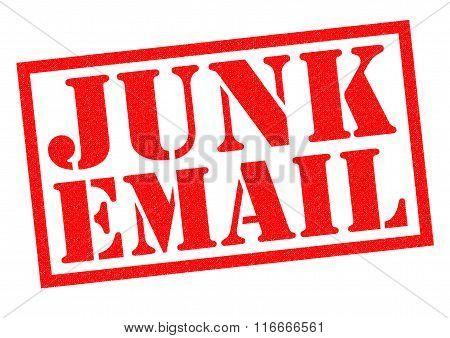 JUNK EMAIL red Rubber Stamp over a white background.