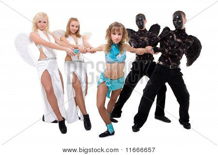 Dance Team Dressed As Angels And Demons