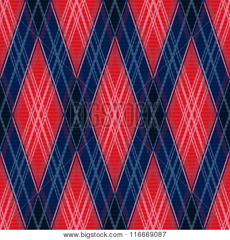 Rhombic Seamless Pattern In Red And Blue