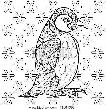 Coloring pages with King Penguin among snowflakes, zentangle ill
