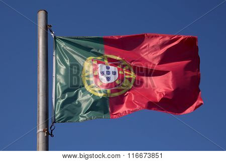 Flag Of Portugal In The Wind, Portugal