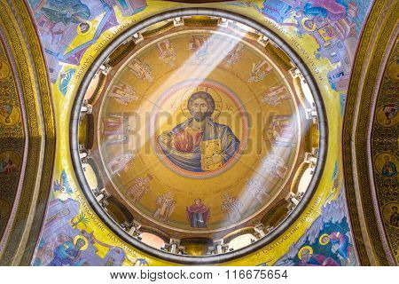 JERUSALEM, ISRAEL - FEBRUARY 23, 2012: The dome of the Catholicon at the Church of the Holy Sepulchre. The church is the site where Jesus was crucified and resurrected according to Christendom.