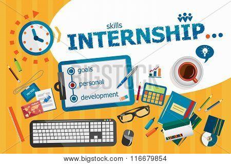 Internship Design Concept. Typographic Poster.