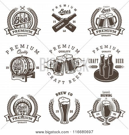 Set of vintage beer brewery emblems