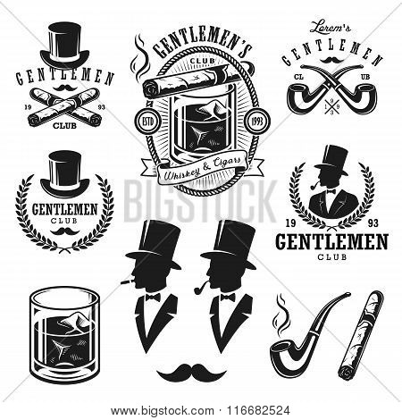 Set of vintage gentlemen emblems and elements.