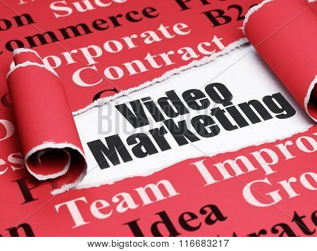 Business concept: black text Video Marketing under the piece of  torn paper