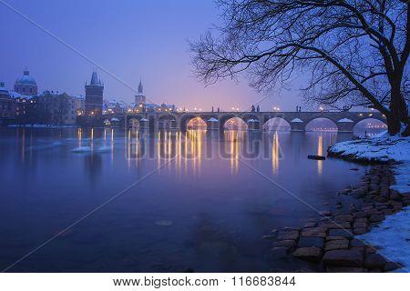 Twilight with the Charles Bridge, Prague, Czech Republic