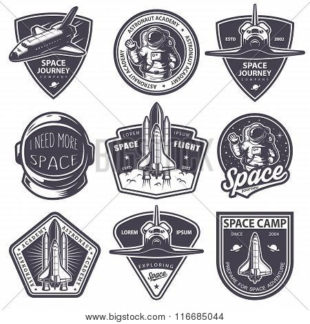Set of vintage space and astronaut badges