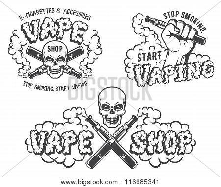 Set of vape, e-cigarette emblems