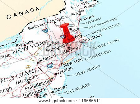 Red Thumbtack Over Connecticut State Usa Map