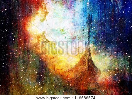 Viking Boat in space and stars, black color background, computer collage, Boat with wood dragon. Ele