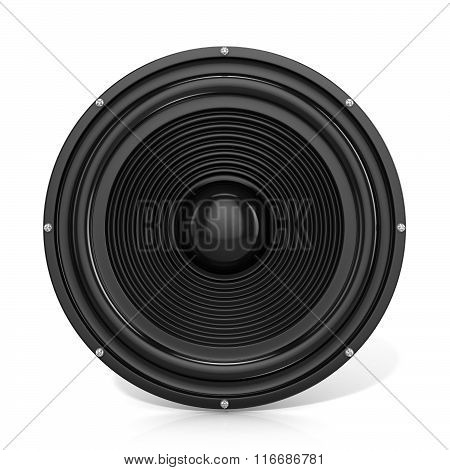 3D render illustration of loudspeaker. Front view