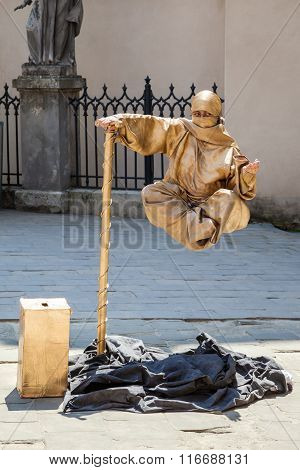 Lviv, Ukraine - June 07 2013: Entertainment For The Tourist: Living Statue - Levitating Street  Mime