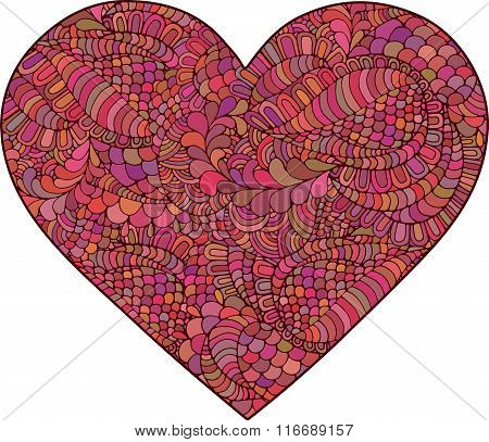 Heart made of doodle elements.