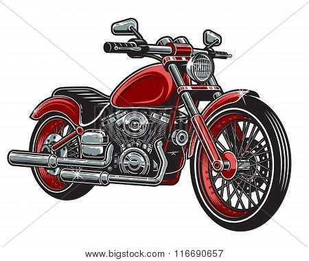 Vector illustration of red color motorcycle