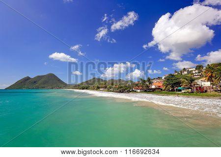 Le Diamant Beach. Beautiful Beach Scene In Martinique, French Overseas Department