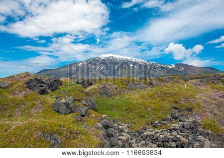 Volcano Snaefell on the western end of Icelandic peninsula Snaefellsnes is covered by a glacier Snaefellsjokull