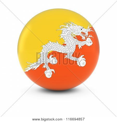 Bhutanese Flag Ball - Flag Of Bhutan On Isolated Sphere