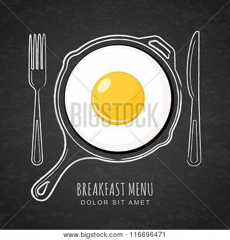 Fried Egg And Hand Drawn Outline Watercolor Pan, Fork And Knife On Textured Black Board Background.