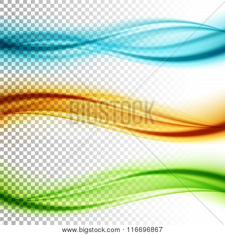 Abstract smooth color wave vector set on transparent background.
