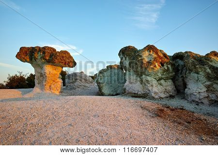 Morning landscape of rock formation The Stone Mushrooms near Beli plast village, B