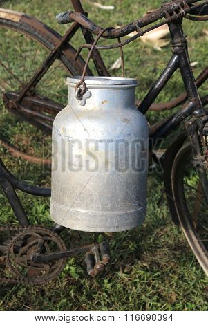 Aluminum Milk Churn Used By Farmers To Bring Fresh Milk