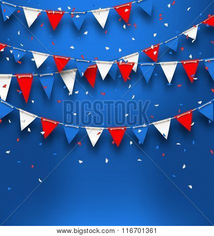 Bright Background with Bunting Flags for American Holidays