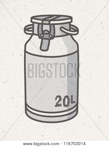 black and white milk churn illustration